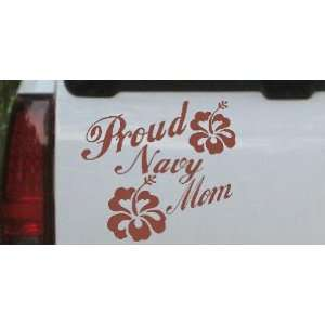 Brown 12in X 13.0in    Proud Navy Mom Hibiscus Flowers Military Car