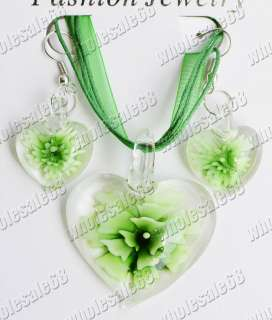 Wholesale 12set heart glass pendant jewelry set FREE