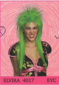 PUNK ROCKER WIG SPIKY EMO 80S ELVIRA LONG STRAIGHT WIG BLACK GREEN