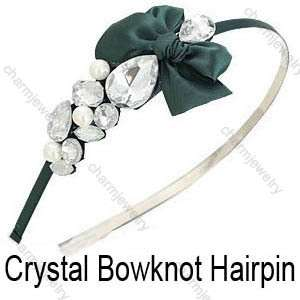Style Crystal Ribbon Bowknot Hairpin Hair bands Headband HOT