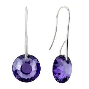 February Purple Birds Nest Swarovski Crystal Earrings