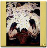 Diego Rivera Mexican Art Ceramic Tile Cala Lily Girls