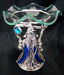 NEW Blue Metal Wizard Aromatherapy Oil Candle Stand