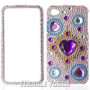 Bling Diamante Rhinestone Hard Case Cover For iPhone 4/4S Purple Heart