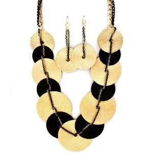Sparkles Fashion Necklace   Gold and Black Necklace and Earring SE