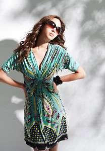 Neck Vintage Retro Patterns Mercerized Cotton Dress