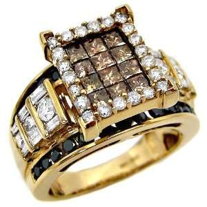 0ct Brown Black Princess Cut Diamond Ring Band 14k Yellow Gold (Size