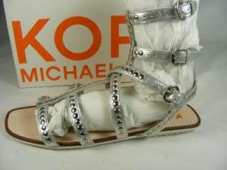 Michael Kors Yes Metallic Leather Gladiator Strap Sandal Shoes Silver