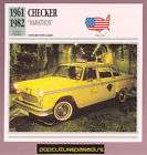 1961 1982 CHECKER MARATHON Taxi Cab Car SPEC PHOTO CARD
