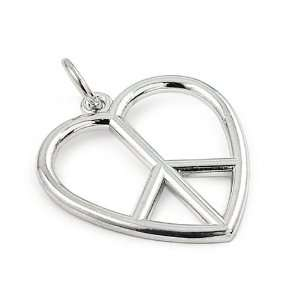 Heart Peace Sign Rhodium Plated Sterling Silver Pendant Jewelry