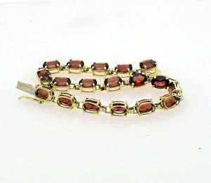 Estate 10k Yellow Gold Garnet Tennis Bracelet 7 long