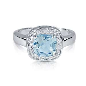 Diamonds in Silver Blue Topaz Cushion Ring: Jewelry