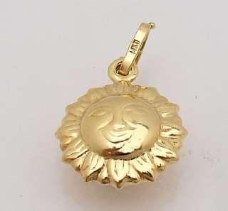 Cute Shiny 3D Bold Sun Charm Pendant 14K Yellow Gold