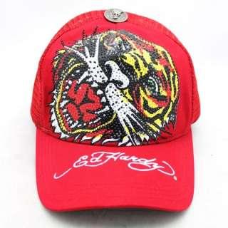 100% Auth Brand New Ed Hardy New Tiger Rhinestones Red Unisex Trucker