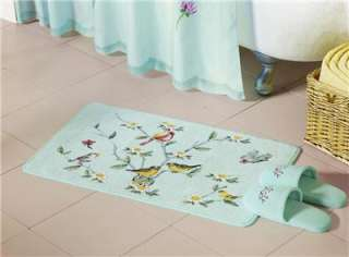 PASTEL COLORS SPRING BIRDS & BLOSSOMS BATH MAT RUG NEW