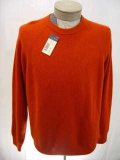 Ply 100% Cashmere Cable Sweater Mens XL Orange Crew Pullover