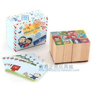 SANRIO HELLO KITTY 12 WOOD MINI STAMPS SET W/ MEMO PAPER 5581 1