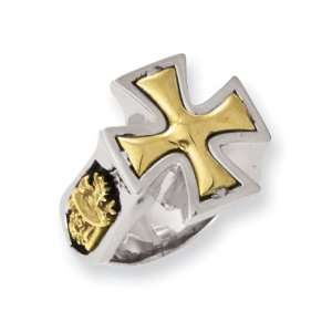 Stainless Steel Designers Bronze Maltese Cross Ring Size 11 Jewelry