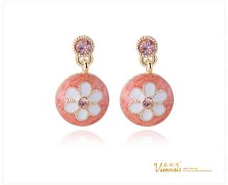 Viennois Vintage Round Flower Rhinestone Crystal Dangle Earrings