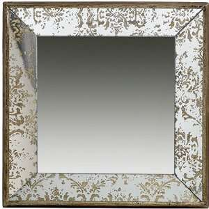 Antique Look Frameless Wall Mirror / Tray 15 inchx15 inch