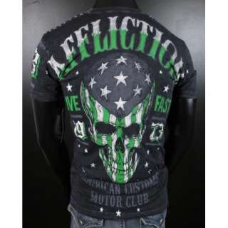 Mens AFFLICTION American Customs T Shirt ACMC FLAG in Black Acid Wash