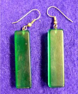 VINTAGE RECTANGULAR PRISM GREEN FRENCH WIRE EARRINGS