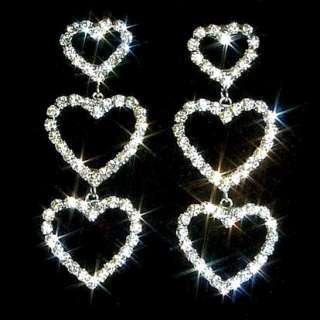 Heart Drop Swarovski Crystal Rhinestone Post Earrings