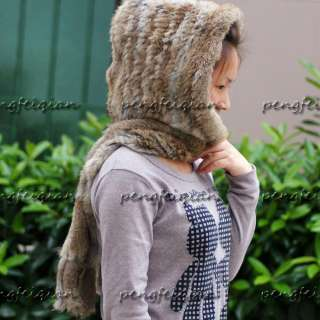 HOT Real farms Rex Rabbit Fur Hoodie Scarf/hat/Wrap Fashion**