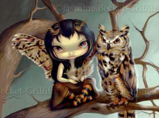 Owlyn owl fairy fantasy gothic big eye art BIG PRINT