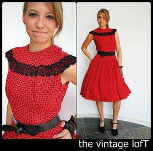 Vtg 50s TEENA PAIGE black heaRT FRENCH rockabilly RED Holiday SWING