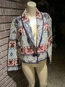 Womens Flashback Woven Tapestry Tribal Geometric Cotton Metal Button