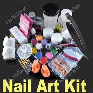 File 120ml Acrylic Liquid 12color Powder Nail Art Kit Combo Set