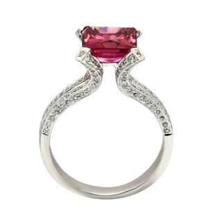 14K WHITE GOLD PINK TOURMALINE PAVE DIAMOND ENGAGEMENT COCKTAIL RING