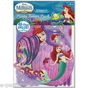 LITTLE MERMAID 48 PC FAVOR PACK ~ Disney Princess Birthday SUPPLIES