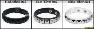 Fashion Rock Punk Cuff Pyramid Stud Leather Bracelet Wristband