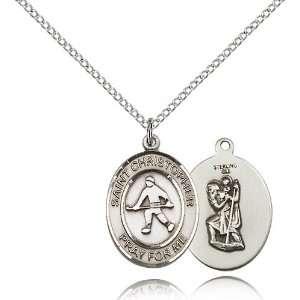 Gold Filled St. Saint Christopher / Field Hockey Medal Pendant 3/4 x 1