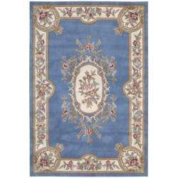 Hand tufted Garden Blue Aubusson Wool Rug (53 X 76)