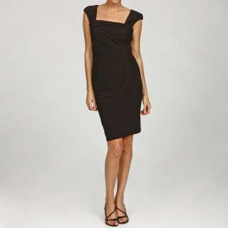 London Times Womens Black Ruched Sheath Dress