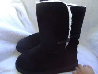WOMENS GIRLS SIZE 6 PAWZ BEARPAW BLACK SUEDE WOOL WINTER BOOTS (165
