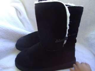 WOMENS GIRLS SIZE 6 PAWZ BEARPAW BLACK SUEDE WOOL WINTER BOOTS (165