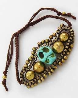 Goldtone 3D Turquoise Skull Day of the Dead Brown Cord Bracelet