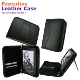 Executive Leather Case Cover for  Kindle 4 Latest Model Black