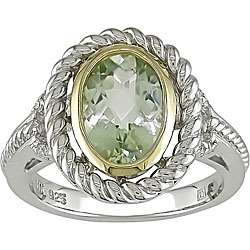 Silver and 14k Gold Green Amethyst Diamond Ring