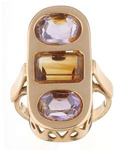 18k Yellow Gold Amethyst and Citrine Cocktail Ring