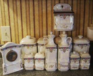 Antique Victoria China Canister Cruets Clock Spice Jars