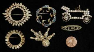 15 Pieces Vintage RHINESTONE & CRYSTAL JEWELRY Necklaces PINS Earrings