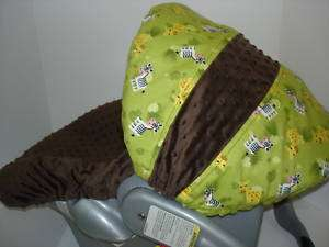 GIRAFFE/ZEBRA/MINKY INFANT CAR SEAT COVER/Evenflo fit
