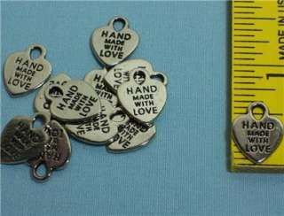 SILVER HEART CHARMS ~ Made With Love ~ Jewelry findings