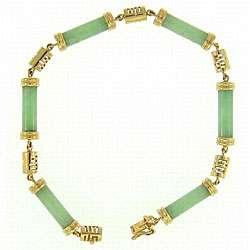 14k Yellow Gold Natural Green Jadeite Jade Bracelet