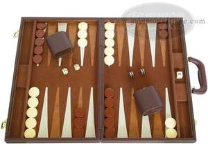 Backgammon Board Game Set   Elegant Deluxe Case 18